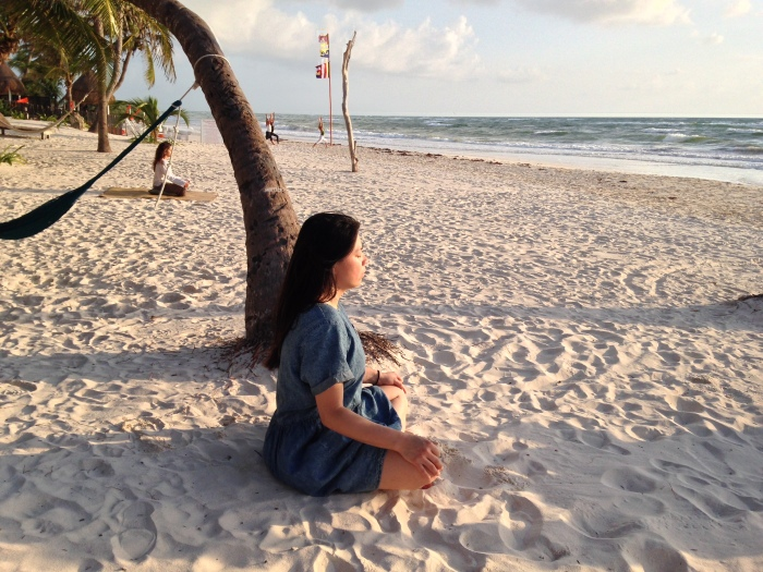 Meditating in Tulum